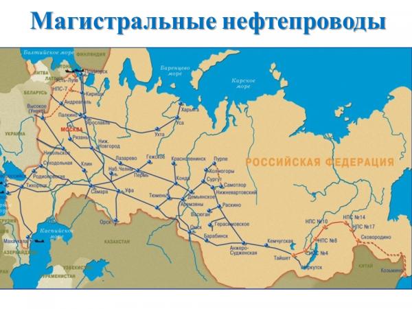 Схема трубопроводного транспорта РФ