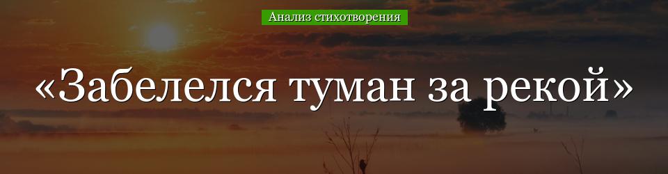 Анализ стихотворения «Забелелся туман за рекой» Сологуба