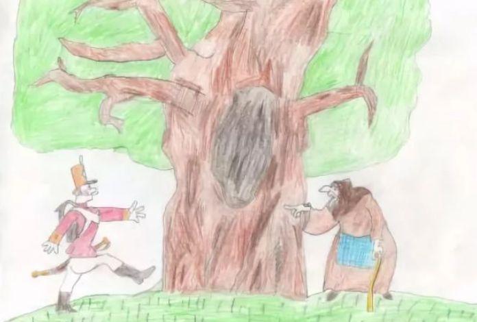 Рисунок-иллюстрация к сказке Огниво