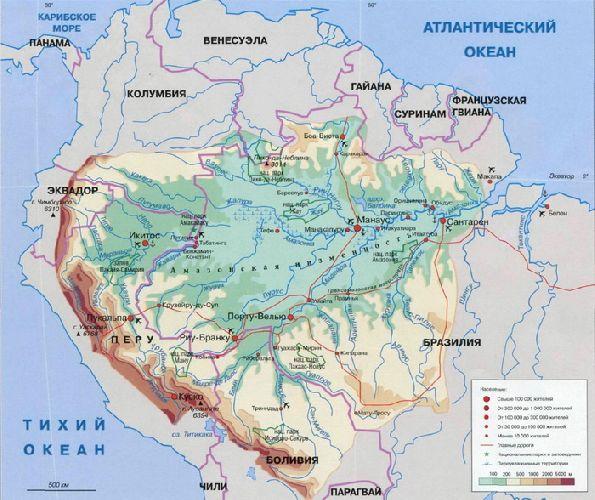 Бассейн Амазонки на карте