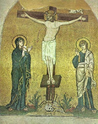 Богоматерь у Распятия. Мозаика в церкви Успения в Дафни. Византия 1100г.