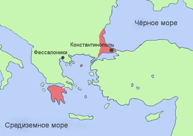 Карта Византийской и Трапезундской империй 1453 год