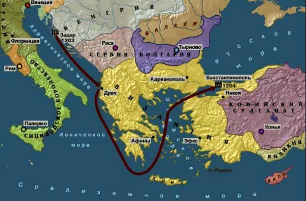 Четвертый Крестовый поход на карте