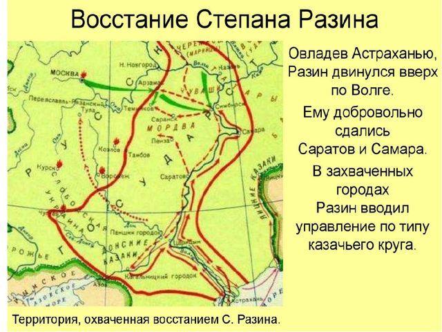 Восстание Степана Разина карта