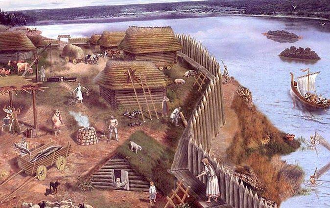 древних рисунок поселения славян